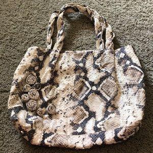 Arcadia leather snakeskin patterned tote bag